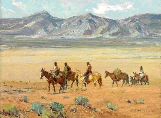 Indians Crossing The Mesa, Taos