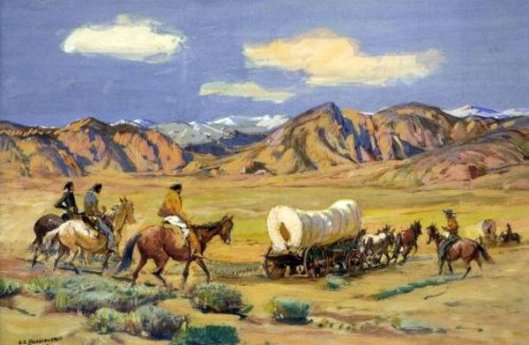 Indians Following A Wagon Trail