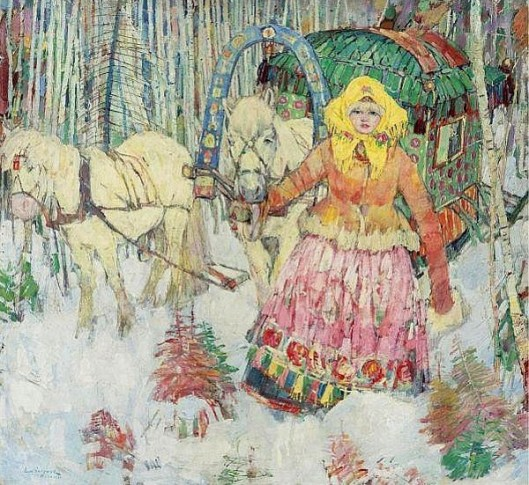 Mongolian Girl With Sled And White Horses