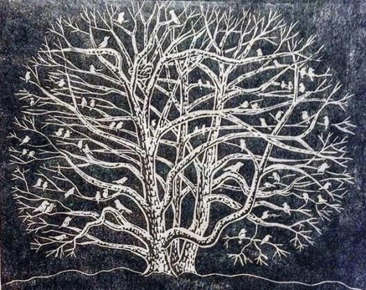 Birds In Tree In The Winter