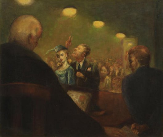 Courtroom Scene With Lawyer And Woman In Blue Dress