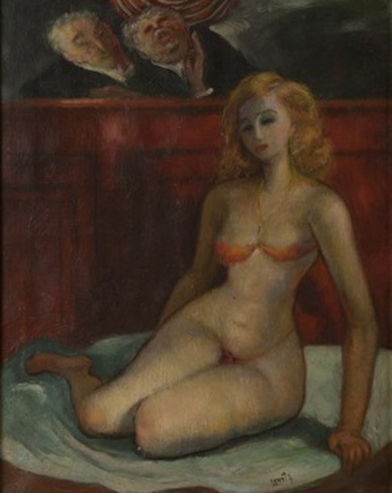 Seated Woman In Bikini Before Two Judges