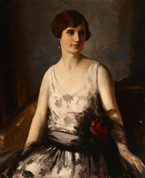 Seated Woman In Party Dress