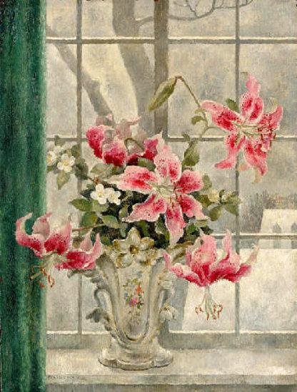 Still Life With Lilies In A Vase Before A Window