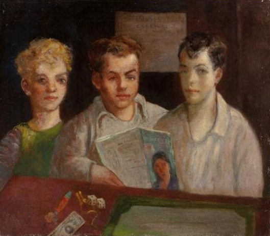 Three Young Boys With Magazine And Dice