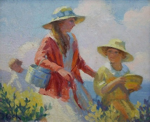 Woman And Daughter With Baskets - Blueberry Time