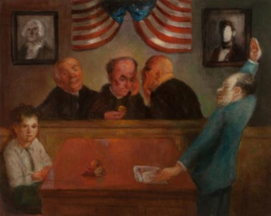 Young Boy And Lawyer Before Three Judges