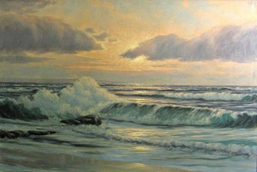 Crashing Waves At Sunset - Seascape