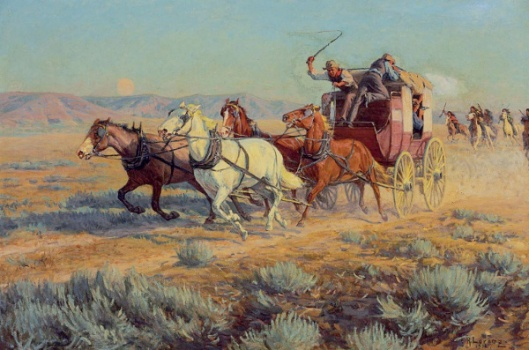 Stagecoach Pursued By Mounted Indians