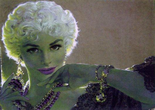 Bejeweled Blonde Woman Appearing In Doorway