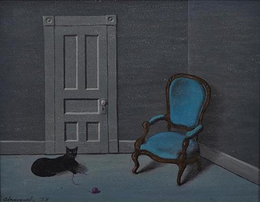 Black Cat, Door And Blue Chair