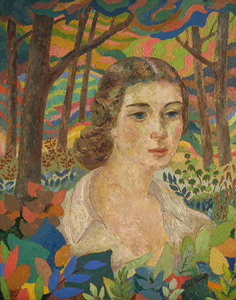 The Woods - Portrait Of Frances Strain (The Artist's Wife)