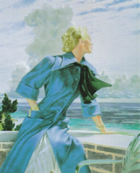 Young Woman On The Balcony Gazing Towards The Sea