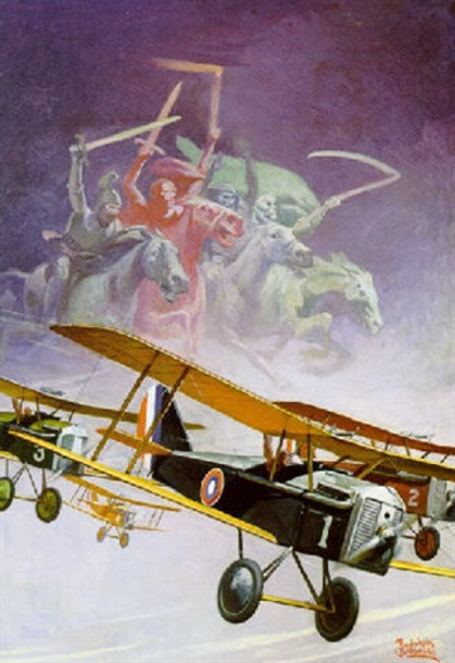 Biplanes With Allegorical Figures Of Apocalypse
