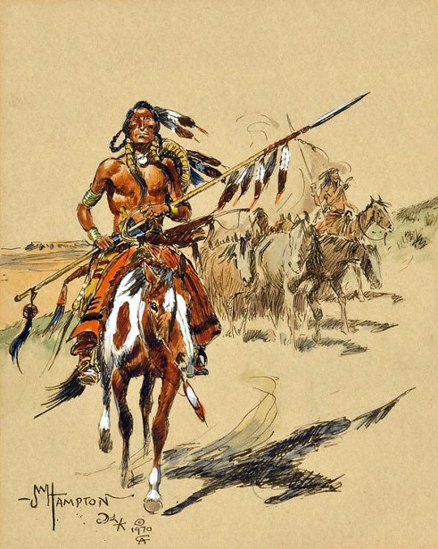 Indian On Horse With Spear