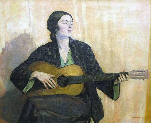Lady Playing A Guitar