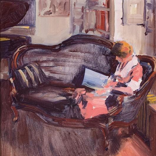 Woman On Sofa Reading