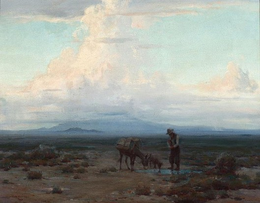 Prospector, Burro And Dog Near A Desert Watering Hole