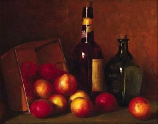 Still Life With Apples And Wine Bottles