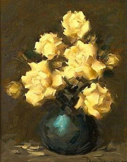 Still Life With Roses In A Blue Vase