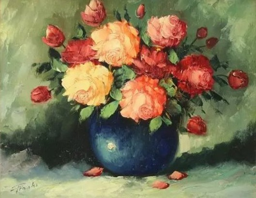 Still Life Of Roses In A Blue Vase