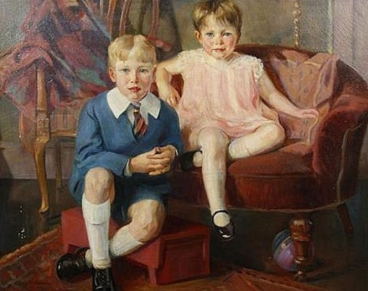 Young Boy And Girl Seated On Velvet Furniture