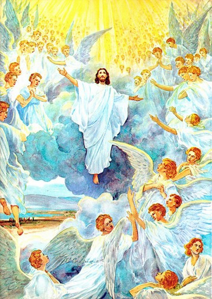 Jesus Escorted By Cloudy Chariot Of Angels