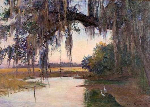 River Scene With Spanish Moss And Egrets