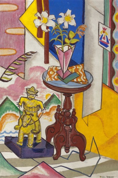 Still Life With Pink Vase And Figurine Of Rider On Horseback