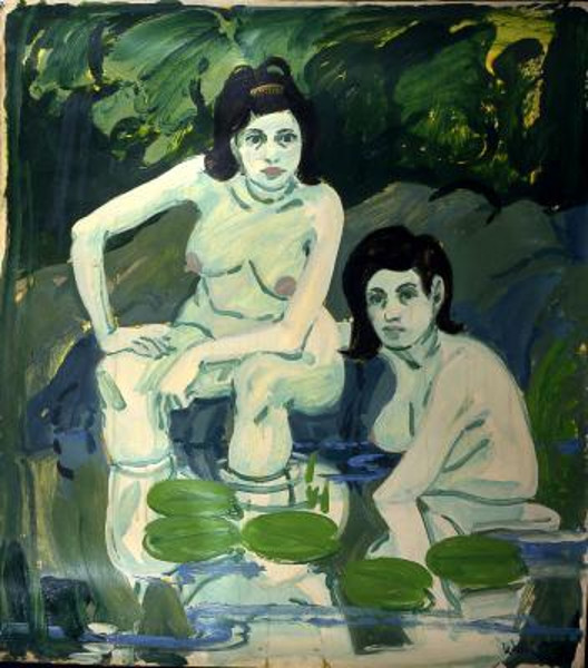 Two Figures With Lilies