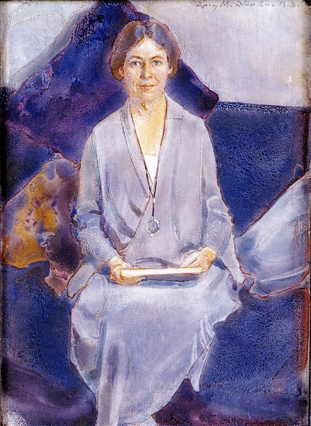Self Portrait In Blue, Grey And Purple