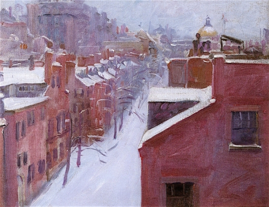 View Up Mount Vernon Street In The Snow