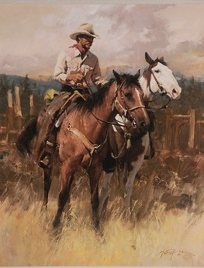 Cowboy With Two Horses