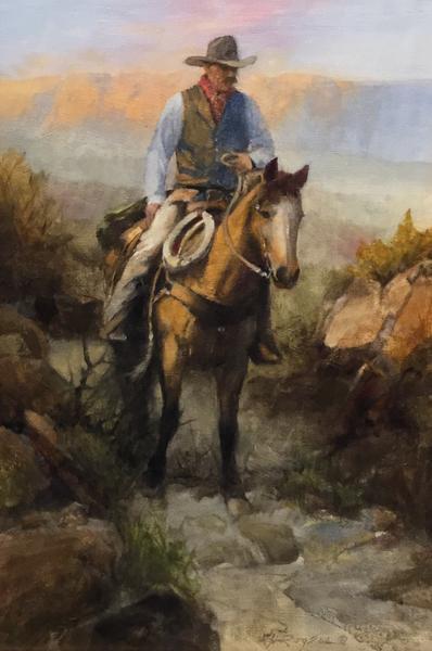 Lone Rider At Dusk