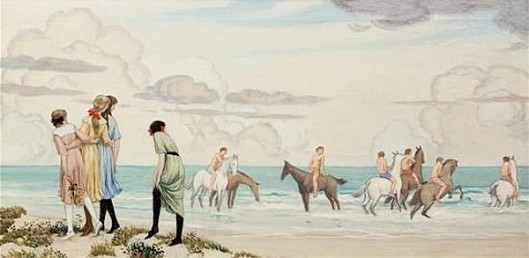 Girls And Horses On Beach